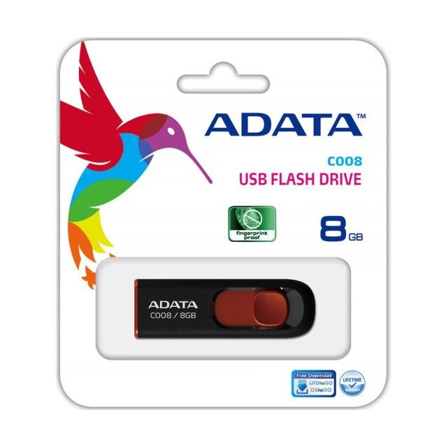 Memorie USB  8GB ADATA C008 Black&Red -etelecomanda.ro